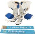 Football Collectibles:Others, 1965-77 Ralph Neely Game Worn Dallas Cowboys Shoulder Pads, Super Bowl XII Cleats and 2 Locker Plates....