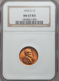 Lincoln Cents: , 1952-D 1C MS67 Red NGC. NGC Census: (178/0). PCGS Population (77/0). Mintage: 46,130,000. Numismedia Wsl. Price for problem...