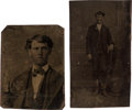 "Photography:Tintypes, James Albert ""Ab"" Saunders: Two Original Tintype Photos of thisLincoln County, New Mexico Character...."
