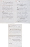 Militaria:Ephemera, Three Official Government Copies of President Grant's Appointmentsof George W. Ingalls as an Indian Agent....