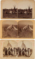 Photography:Stereo Cards, Stereoview: Three Early Views of Ute Indians at Camp....