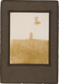 Photography:Studio Portraits, Little Big Horn: A Large Barry Photo of Custer Monument with Grave Markers in Foreground, with Inset Photo of 2nd Lieutenant J...