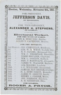 Political:Small Paper (pre-1896), Jefferson Davis: 1861 Virginia Ballot....