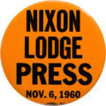Political:Pinback Buttons (1896-present), Richard Nixon: Election Night Press Button....