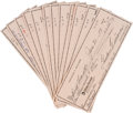 Autographs:Checks, 1980's Ted Williams Signed Personal Checks Lot of 100....