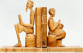 Books:Furniture & Accessories, [Bookends]. Wooden Hand-Carved Bookends Depicting Don Quixote andSancho Panza. Ca. 1950s. Each figure is seated with decora...(Total: 2 Items)