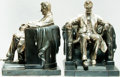 Books:Furniture & Accessories, [Featured Lot] [Bookends]. Matching Pair of Abraham LincolnBookends Titled, Lincoln in the Chair. Ca. 1960s. So...(Total: 2 Items)