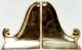 """Books:Furniture & Accessories, [Bookends]. Matching Pair of Decorative Brass Bookends. Ca. 1970s.Each measures 5.75"""" tall x 1.5"""" wide x 4.5"""" deep. Label ... (Total:2 Items)"""