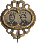 Political:Ferrotypes / Photo Badges (pre-1896), Grant & Colfax: Jugate Ferrotype Badge....