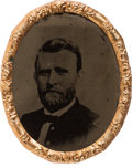 Political:Ferrotypes / Photo Badges (pre-1896), Ulysses S. Grant: Large Oval Ferrotype....