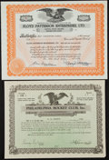 Miscellaneous Collectibles:General, Floyd Patterson Enterprises and Philadelphia Hockey Club StockCertificates....