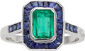 Estate Jewelry:Rings, Art Deco Emerald, Sapphire, White Gold Ring. ...