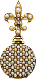 Estate Jewelry:Watches, Lady's Swiss Pearl, Diamond, Gold Lapel Watch. ...