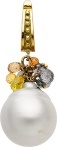 Estate Jewelry:Pendants and Lockets, South Sea Cultured Pearl, Multi-Stone, Gold Pendant. ...