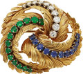 Estate Jewelry:Brooches - Pins, Emerald, Sapphire, Diamond, Gold Brooch, Neiman Marcus, French. ...