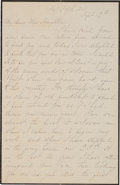 Autographs:Celebrities, Elizabeth Custer: An Early 1878 Letter on Black-Bordered MourningStationery....
