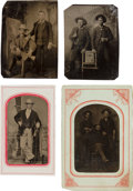 Photography:Tintypes, Western Tintypes: A Group of Four Tintypes....