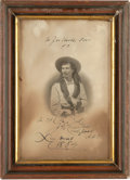 """Autographs:Celebrities, """"Captain Jack"""" Crawford: A Great Autographed Engraving, Dated""""X-mas 1884"""" and Inscribed to the """"Joe Hooker (G.A.R.) Post.""""..."""
