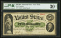 Large Size:Demand Notes, Fr. 1 $5 1861 Demand Note PMG Very Fine 30 Net.. ...