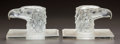 Glass, A PAIR OF R. LALIQUE CLEAR AND FROSTED GLASS TETE D'AIGLE BOOKENDS. Circa 1928. Molded R. LALIQUE. M p. 508, N... (Total: 2 Items)