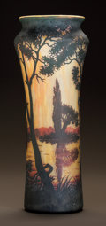 Art Glass:Daum, DAUM OVERLAY GLASS LANDSCAPE VASE. Circa 1900. Cameo DAUM,NANCY with the cross of Lorraine. Ht. 13-1/2 in.. ...