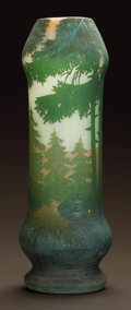Art Glass:Other , AN OVERLAY GLASS AND ENAMEL LANDSCAPE VASE. Circa 1910.. Ht. 13-5/8in.. ...
