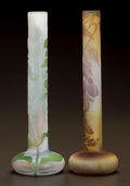 Art Glass:Galle, TWO GALLÉ OVERLAY GLASS FLORAL CABINET STICK VASES. Circa 1900.Both with Gallé cameo. Ht. 8-3/8 in.. ... (Total: 2 Items)