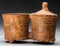 Pre-Columbian:Ceramics, Teotihuacan Double Vessel with Attached Lid. c. 450 - 650 AD...