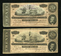 Confederate Notes:1864 Issues, Representing Nothing on God's Earth Now Poem T67 $20 1864 VF. Advertising Note Chas. W. Wortham T67 $20 1864 XF, pinh... (Total: 2 notes)