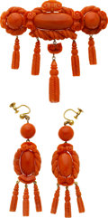 Estate Jewelry:Suites, Victorian Coral, Gold Jewelry Suite. ... (Total: 2 Items)