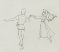 Animation Art:Production Drawing, Sleeping Beauty Briar Rose and Prince Phillip ProductionDrawing (Walt Disney, 1959)....