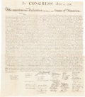 Political:Posters & Broadsides (pre-1896), William J. Stone for Peter Force: The Declaration of Independence. ...