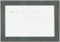 """Autographs:Authors, [Featured Lot] J.D. Salinger Signature. Pencil. Framed to 6.66"""" x 4.66"""". Paper is creased, with some edgewear. Near fine. . ..."""