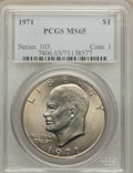 Eisenhower Dollars: , 1971 $1 MS65 PCGS. PCGS Population (792/53). NGC Census: (627/35). Mintage: 47,799,000. Numismedia Wsl. Price for problem f...