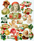 """Miscellaneous:Ephemera, Group of Twenty-Five Floral Decals. Ca. 1910. Most with adhesive ofpaper residue to verso. Approximate size is 1"""" x 1"""". Som..."""