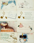 Miscellaneous:Postcards, [Postcards] Group of Eight Baby Announcement Postcards. Ca. 1915.Some used. General soiling and edgewear. Very good. From...