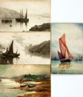 Miscellaneous:Postcards, [Postcards] Group of Four British Greeting Cards DepictingPaintings of Ships. General soiling and edgewear. Very good.Fr...