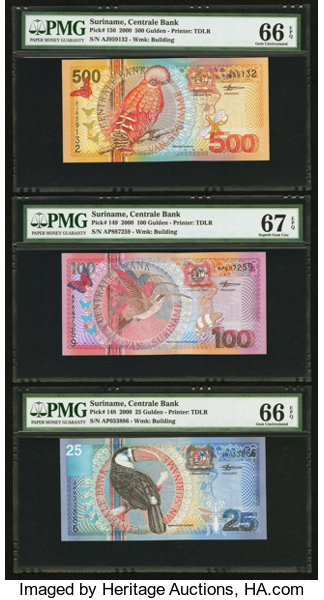 Suriname Centrale Bank 1 1 2000 PMG Graded        (Total: 8