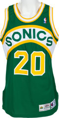 Basketball Collectibles:Uniforms, 1994-95 Gary Payton Game Worn Seattle Supersonics Jersey....