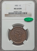 1853 1C MS64 Brown NGC. CAC. NGC Census: (6/3). PCGS Population (222/113). Mintage: 6,641,131. Numismedia Wsl. Price for...