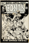 Original Comic Art:Covers, Gil Kane Conan the Barbarian #12 Cover Original Art (Marvel,1971)....