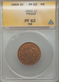1869 2C PR62 Red and Brown ANACS. NGC Census: (1/136). PCGS Population (6/217). Mintage: 600. Numismedia Wsl. Price for...