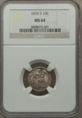 Seated Dimes: , 1876-S 10C MS64 NGC. NGC Census: (19/23). PCGS Population (25/22). Mintage: 10,420,000. Numismedia Wsl. Price for problem f...