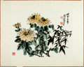 "Books:Prints & Leaves, [Ho Chien-Ping]. Original Hand-Colored Chinese Floral Print. [N.p.,n.d.]. Measures approximately 13"" x 17.5"" and tipped ont..."