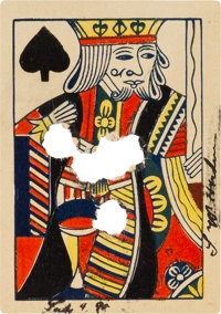 John Wesley Hardin: A Rare, Signed Shot-Through Playing Card from this Notorious Texas Gunslinger