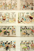 Books:Prints & Leaves, Group of Eight Hand-Colored Engravings Comically Depicting Scenesfrom the Medical and Legal Professions. [N.p., n.d.]. Vari...