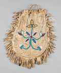 American Indian Art:Beadwork and Quillwork, A NORTHERN PLAINS BEADED HIDE DRAWSTRING POUCH...