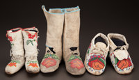 THREE PAIRS OF PLATEAU BEADED HIDE MOCCASINS