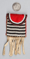 American Indian Art:Beadwork and Quillwork, A CREE BEADED CLOTH POUCH WITH METAL TOKEN...