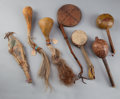 Other, SEVEN PLAINS AND PUEBLO PAINTED HIDE RATTLES... (Total: 7 Items)